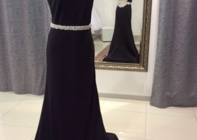 Black silver beaded cap sleeve