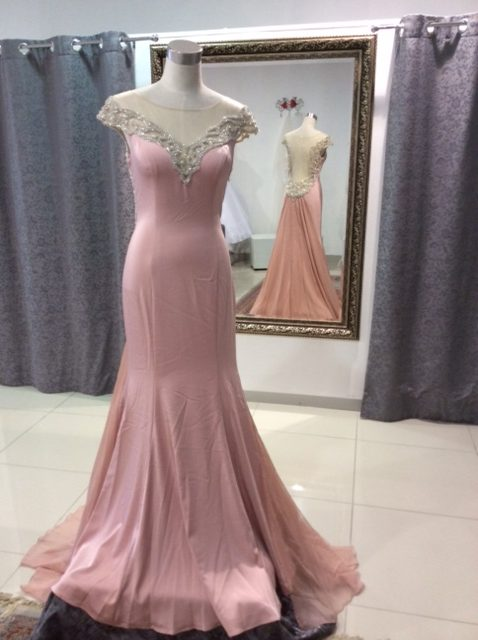 Dirty pink low back beaded chiffon