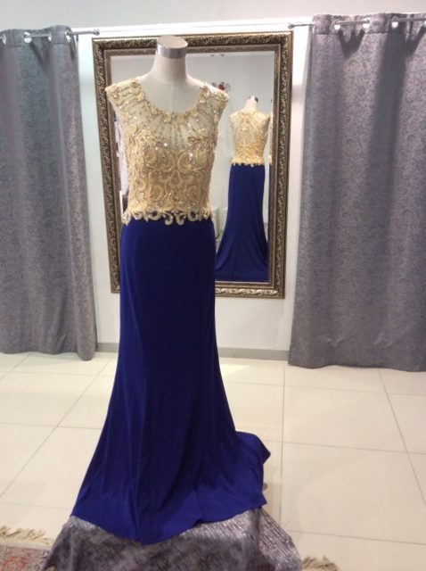 Gold bead bodice royal blue skirt