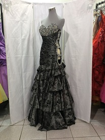 Grey black rose beaded side loops HP