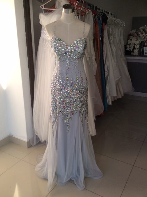 Grey silver beaded