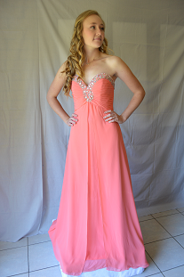 HP Evening Salmon chiffon with sweet heart neckline