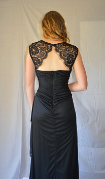 HP Evening black netting with lace sleeve and back. BACK view
