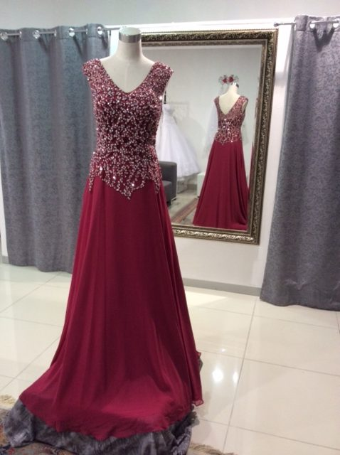 Maroon beaded bodice MOB