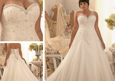 P A-line Wedding Dress Fall and winter Dress Tulle and Satin with Applique Crystal Chapel Train
