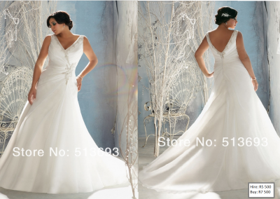 P  Crystal embellished V Neck wedding dress plus size