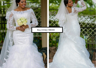 P  Elegant Beaded Lace Long Sleeves Plus Size Mermaid Wedding Dress