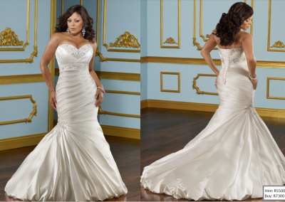 P  French Style Sweetheart Embroidery Lace Up Satin Plus Size Mermaid Wedding Dress