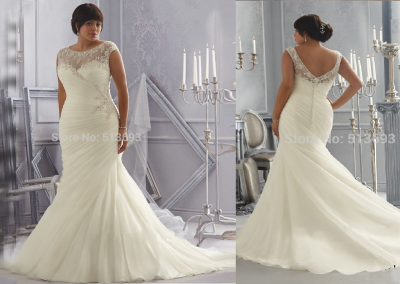 P  IvoryWhite with Crystal Beading and Appliques Organza Mermaid Plus Size Wedding Dress