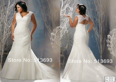 P  Mermaid V-neck Applique Organza Lace Up Plus Size Wedding Dress