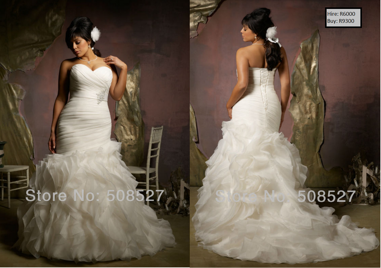 P Pleat Ruffles Beading Crystal Satin Organza Mermaid Plus Size Wedding Dress