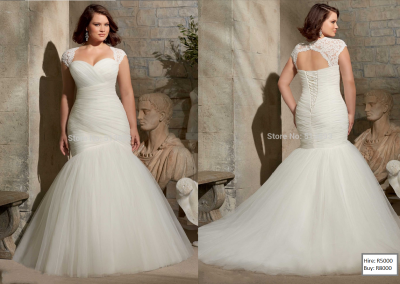 P  Pleated Bridal Gown with Lace Plus Size Mermaid Lace up Wedding Dresses 2015 Keyhole Back