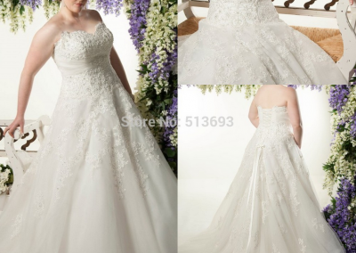 P  Sweetheart Bridal Gown with Crystal Beading Long Train Income Organza Lace up Plus Size Wedding Dress