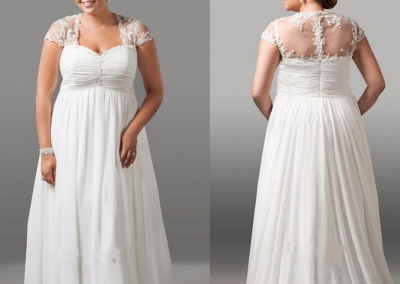 P  Vintage Plus Size Wedding Dress With Short Sleeve A Line Chiffon Appliques Sexy Sweetheart Sweep Train
