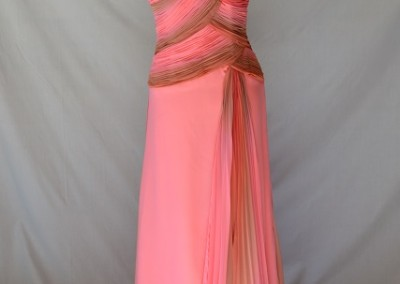 Pink and Brown chiffon one strap F