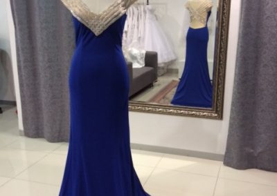 Royal blue beaded criss cross back