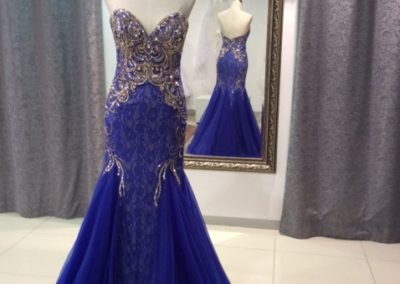 Royal blue gold and lace mermaid