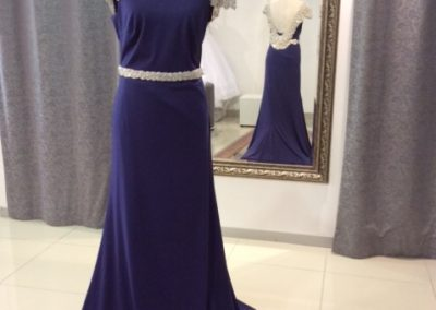 Royal blue silver beaded cap sleeve