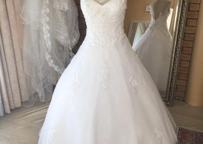 beaded illusion neck ball gown full view