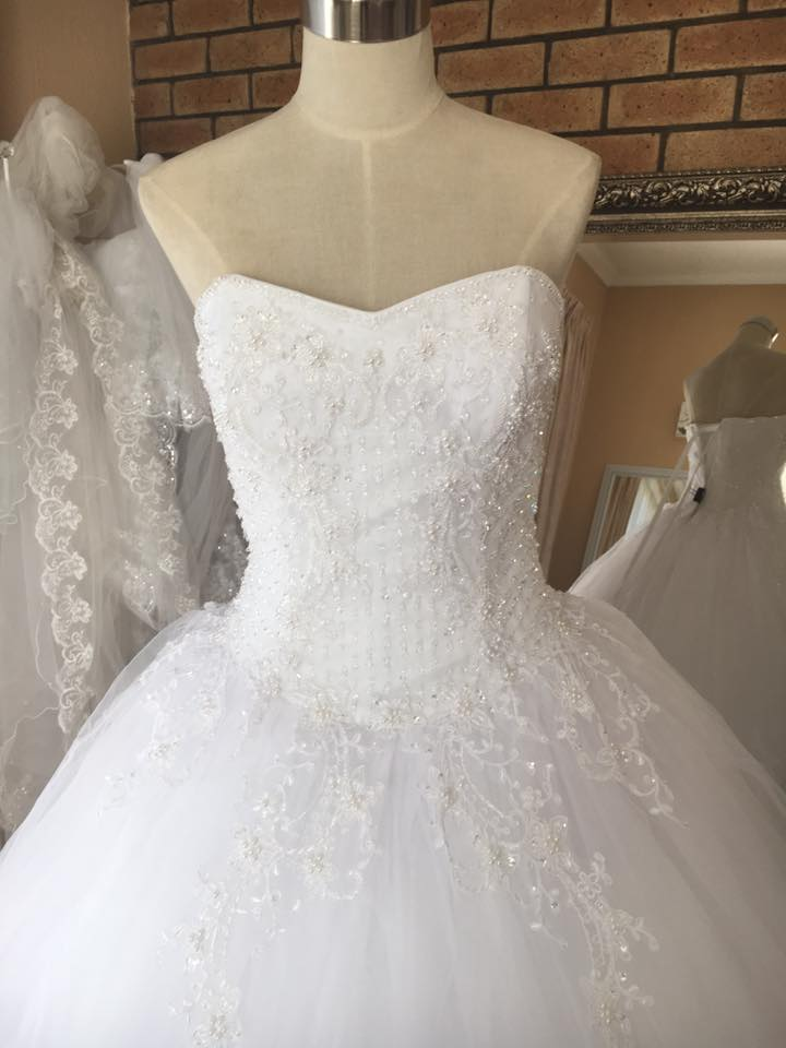 beaded lace applica ball gown half view