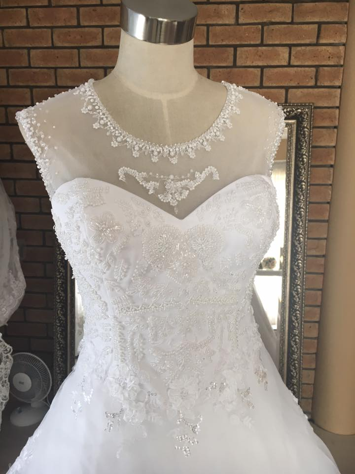 beaded illusion neck ball gown half view
